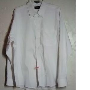 Kasper White Pinpoint Oxford Shirt Size 17 34/35